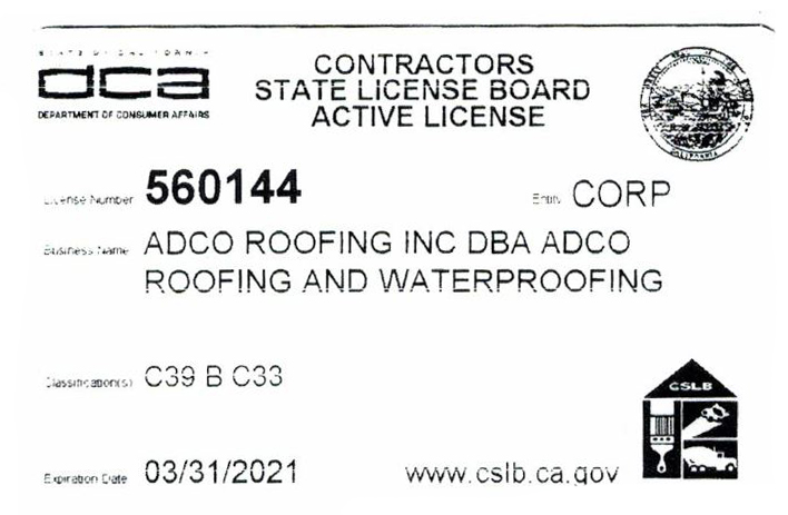 Contractor State License ADCO exp 2021