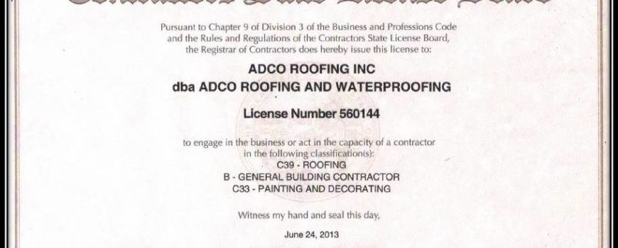 Contractor State License ADCO Roofing and Waterproofing