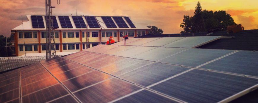 solar installation at sunset